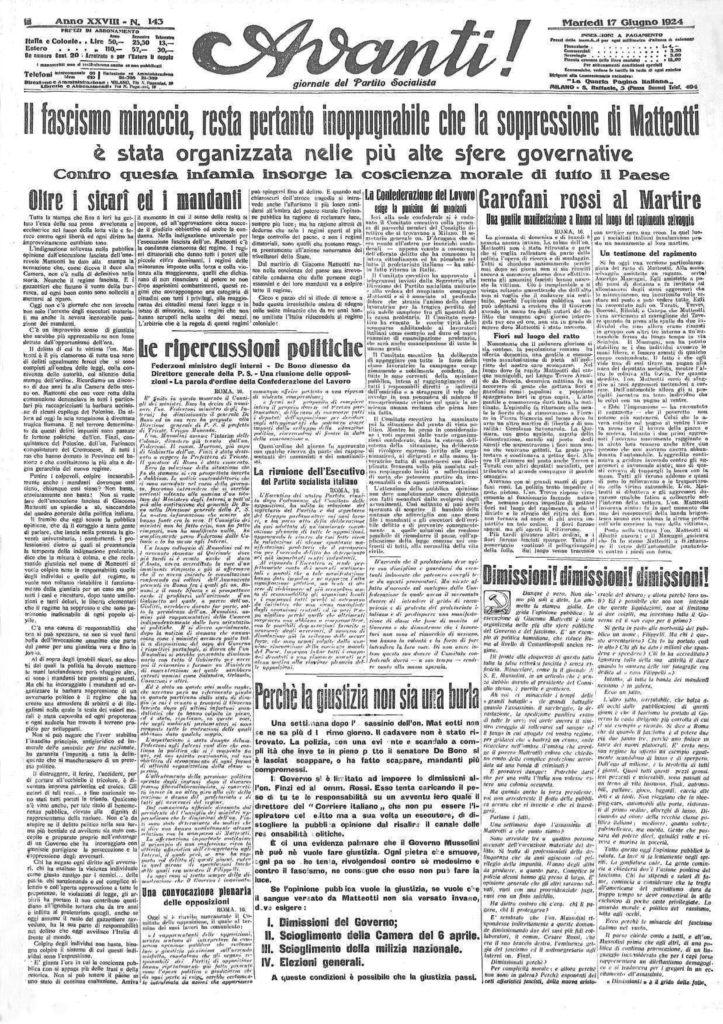 Avanti! del 17 Giugno 1924